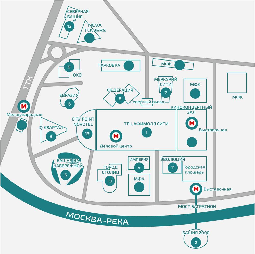 Схема-карта Москва Сити (Moscow City)